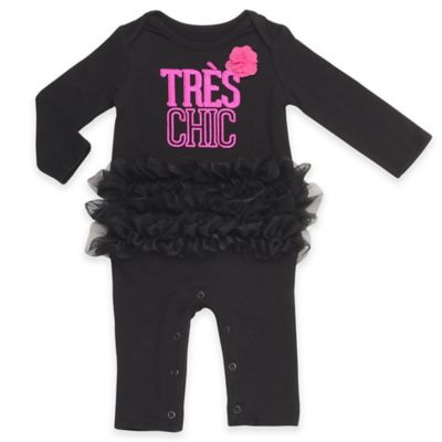"Baby Starters® Size 9M ""Très Chic"" Long Sleeve Footless Coverall with Tutu in Black"