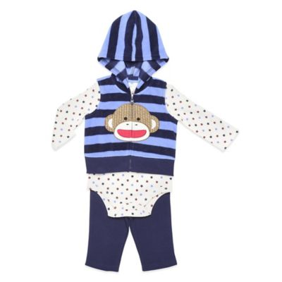 Baby Starters® Sock Monkey Size 3M 3-Piece Hoodie Vest, Bodysuit, and Pant Set in Blue