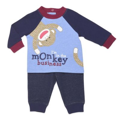 "Baby Starters® Sock Monkey Size 6M ""Monkey Business"" 2-Piece Top and Pant Set in Blue"