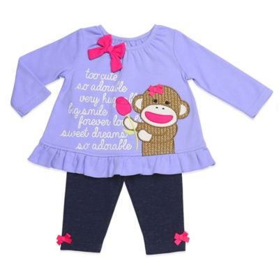 "Baby Starters® Sock Monkey Size 3M 2-Piece ""Too Cute"" Ruffled Top and Legging Set in Purple"
