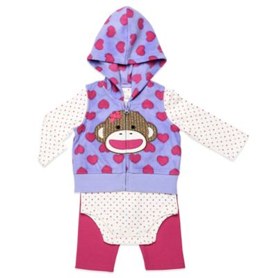 Baby Starters® Sock Monkey Size 3M 3-Piece Vest, Bodysuit, and Legging Set in Pink/Purple