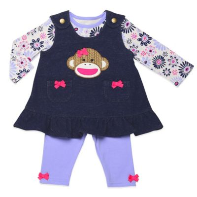 Baby Starters® Sock Monkey Size 3M 3-Piece Jumper, Top, and Legging Set in Denim/Purple