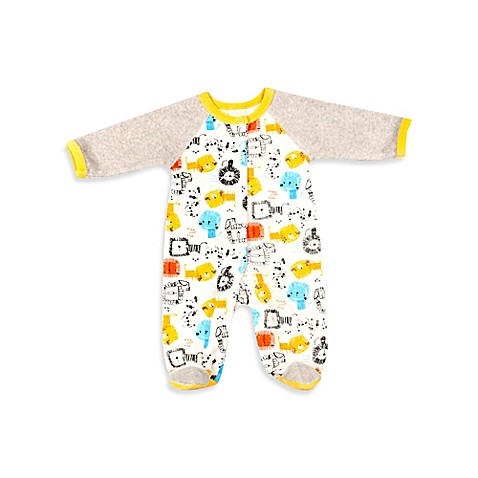 Absorba Velour Lions Footie in White Multicolor BABY