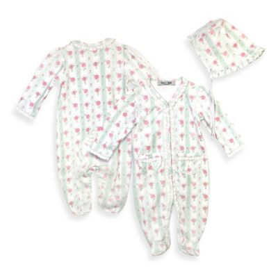 Harry & Violet Size 0-3M 2-Piece Rose Print Footie and Bonnet Set in Ivory/Pink