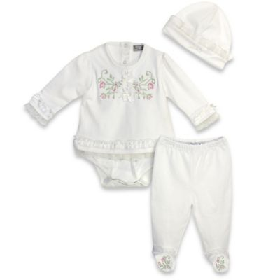 Harry & Violet Size 0-3M 3-Piece Embroidered Long Sleeve Bodysuit, Pant and Hat Set in Ivory