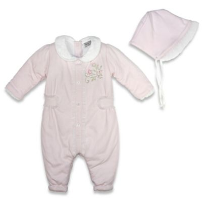 Harry & Violet Size 0-3M 2-Piece Coverall and Bonnet Set in Pink