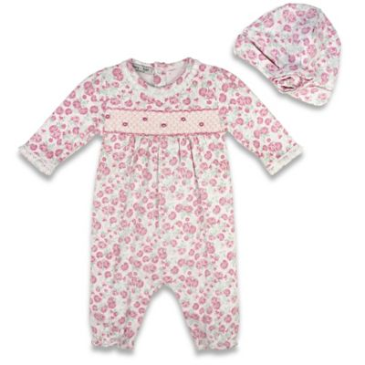 Harry & Violet Size 0-3M 2-Piece Smocked Floral Coverall and Hat Set in Pink/White