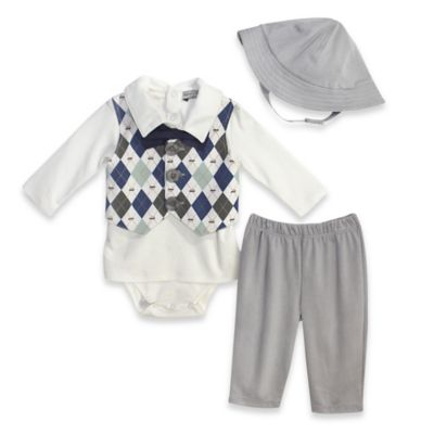 Harry & Violet Size 0-3M 3-Piece Bodysuit, Pant, and Hat Set in Ivory/Grey