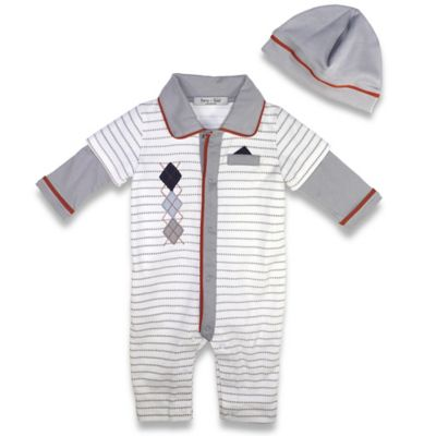 Harry & Violet Size 0-3M 2-Piece Argyle and Stripes Coverall and Hat Set in Ivory/Grey