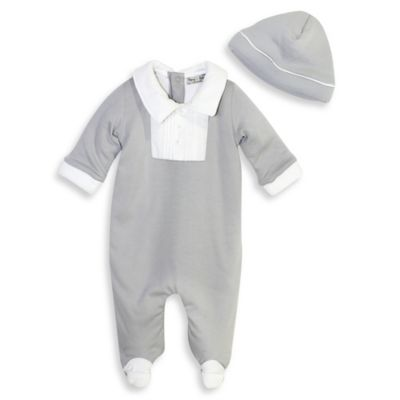 Harry & Violet Size 0-3M 2-Piece Footie and Hat Set in Grey