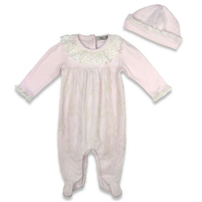 Harry & Violet Size 0-3M 2-Piece Coverall and Hat Set in Pink