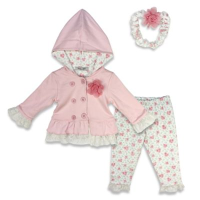 Harry & Violet Size 0-3M 3-Piece Jacket, Legging, and Headband Set in Pink