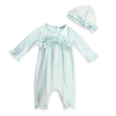Harry & Violet July Size 0-3M 2-Piece Lace Coverall and Hat Set in Mint