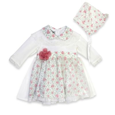 Harry & Violet Size 0-3M 3-Piece Floral Dress, Bonnet and Panty Set in Ivory
