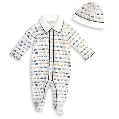 Harry & Violet Size 3-6M 2-Piece Vintage Car Print Footed Sleeper and Hat Set in Ivory