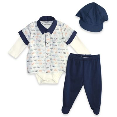 Harry & Violet Size 0-3M Vintage Cars 3-Piece Top, Pant, and Cap Set in Ivory/Navy