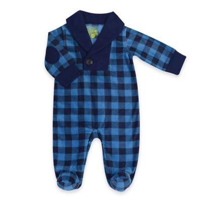 Kapital K™ Size 3-6M Shawl Collar Fleece Footed Coverall in Blue/Black