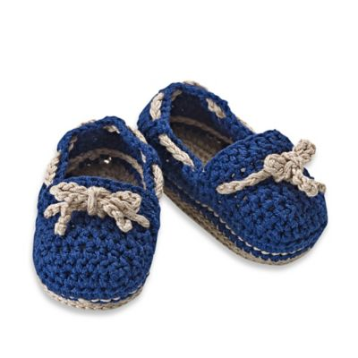 Jefferies Socks Newborn Crochet Boat Shoe Bootie in Navy