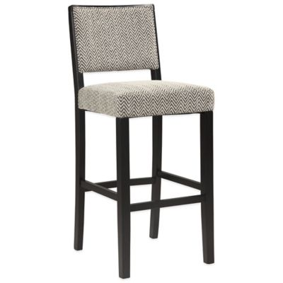 Zoe 24-Inch Counter Stool in Black/White Brideport Fabric
