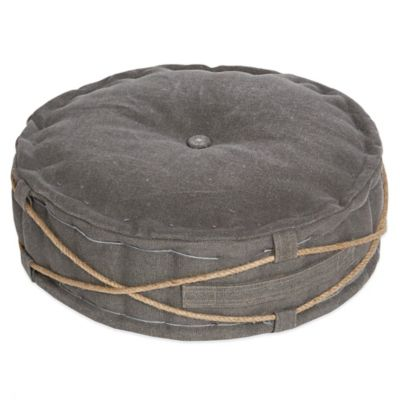 angelo:HOME Round Floor Cushion in Marco Grey Rope