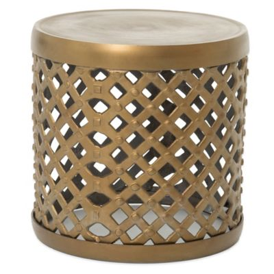 Urban Oasis York 18-Inch Drum Stool in Polished Brass