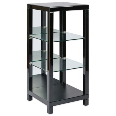 Office Star Products Reflections 3-Shelf Curio with Black Glass Finish