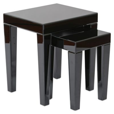 Office Star Products Reflections Nesting Tables with Black Glass Finish (Set of 2)