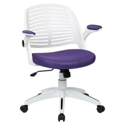Office Star Products Tyler White Frame Office Chair with Black Upholstery