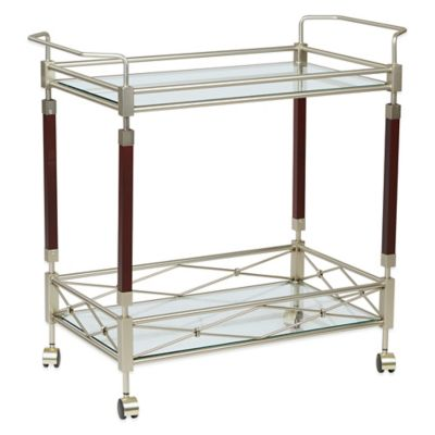 Melrose Serving Cart in Brushed Nickel/Walnut