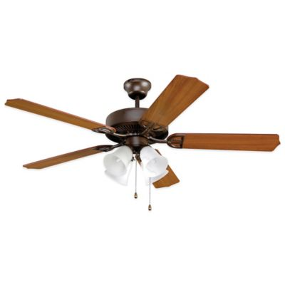 AireDécor by Fanimation 4-Light 52-Inch Ceiling Fan with Amber Glass in Oil-Rubbed Bronze