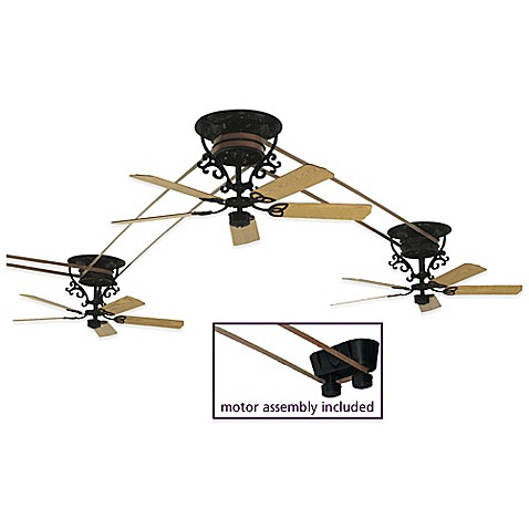 Fanimation bourbon street 52 inch x 21 inch belt drive ceiling fan in black set of 3 bed - Belt driven ceiling fans ...