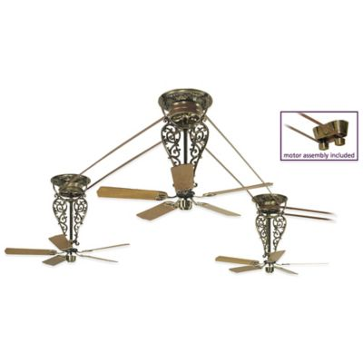 Fanimation Bourbon Street® 52-Inch x 36-Inch Belt-Drive Ceiling Fan in Antique Brass (Set of 3)