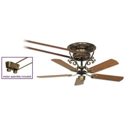 Fanimation Bourbon Street 52-Inch x 21-Inch Belt-Drive Ceiling Fan in Antique Brass