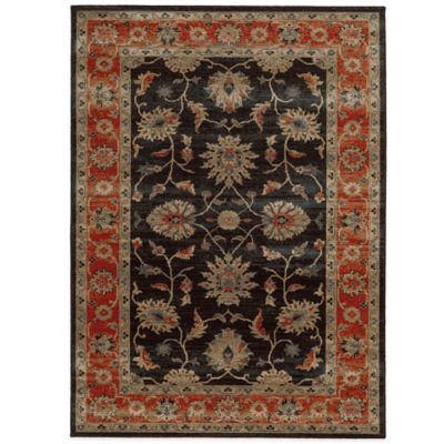 Tommy Bahama® Vintage 2-Foot 7-Inch x 9-Foot 4-Inch Runner in Black with Red Border