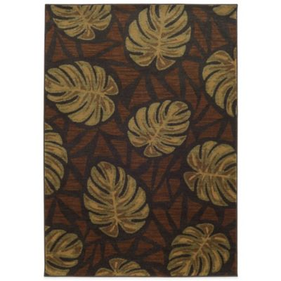 Brown Leaf Rug