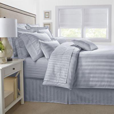 500-Thread-Count Damask Stripe Reversible Full/Queen Comforter Set in Silver