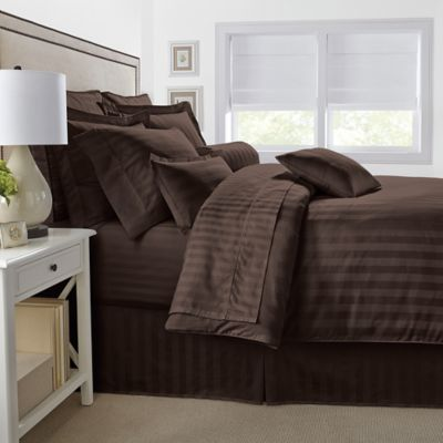 500-Thread-Count Damask Stripe Reversible Twin Comforter Set in Brown