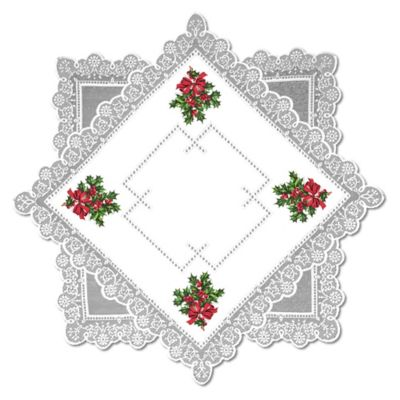Heritage Lace® Boughs of Holly 30-Inch Table Topper in White