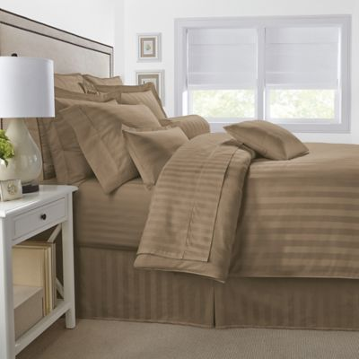 500-Thread-Count Damask Stripe Reversible King Duvet Cover Set in Taupe
