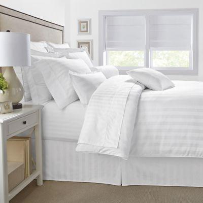 500-Thread-Count Damask Stripe Reversible Full/Queen Comforter Set in White