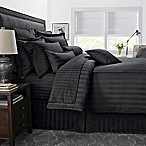 500-Thread-Count Damask Stripe Reversible Full/Queen Comforter Set in Black