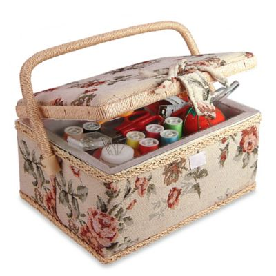 Smartek Classic Fabric Floral Design Sewing Basket
