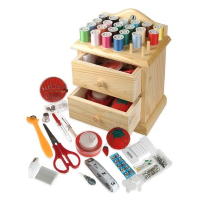 Smartek Wooden Sewing Chest with Accessories