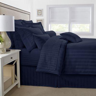 500-Thread-Count Damask Stripe Reversible Full/Queen Comforter Set in Navy