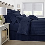 500-Thread-Count Damask Stripe Reversible King Comforter Set in Navy