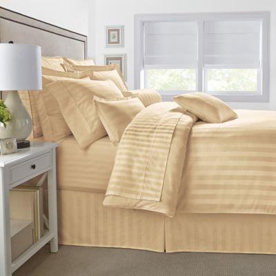 500-Thread-Count Damask Stripe Reversible Twin Comforter Set in Honey