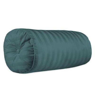 500-Thread-Count Damask Stripe Bolster Throw Pillow in Hunter Green
