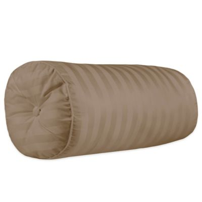 500-Thread-Count Damask Stripe Bolster Throw Pillow in Canvas
