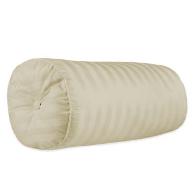 500-Thread-Count Damask Stripe Bolster Throw Pillow in Ivory
