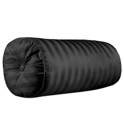 500-Thread-Count Damask Stripe Bolster Throw Pillow in Black
